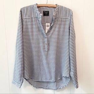 Abercrombie & Fitch Striped Popover Top-Blue/White